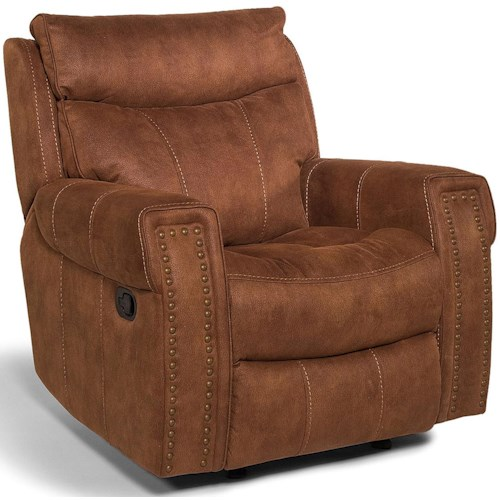 Flexsteel Latitudes - Wyatt - -660344646 Transitional Power Recliner with Key Arms and Nailhead Trim
