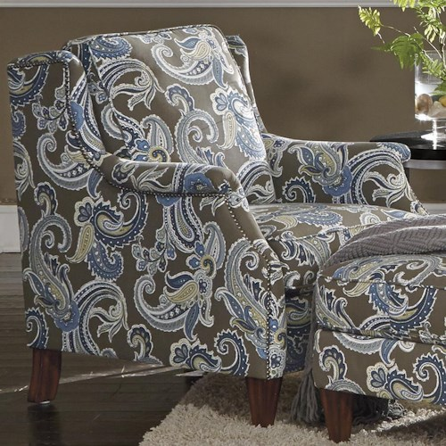 Flexsteel Zevon Transitional Chair with Slender English Arms and Nailhead Border