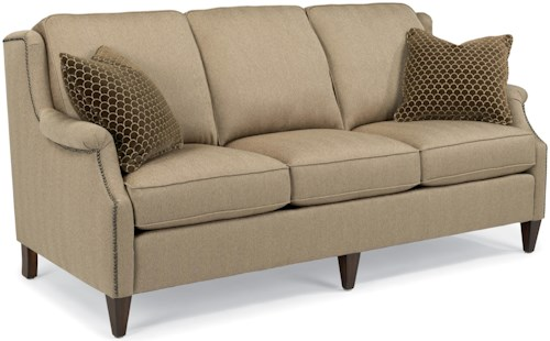 Flexsteel Zevon Transitional Sofa with Slender English Arms and Nailhead Border