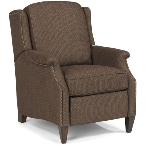 Flexsteel Zevon Transitional High Leg Recliner with Slender English Arms and Nailhead Border