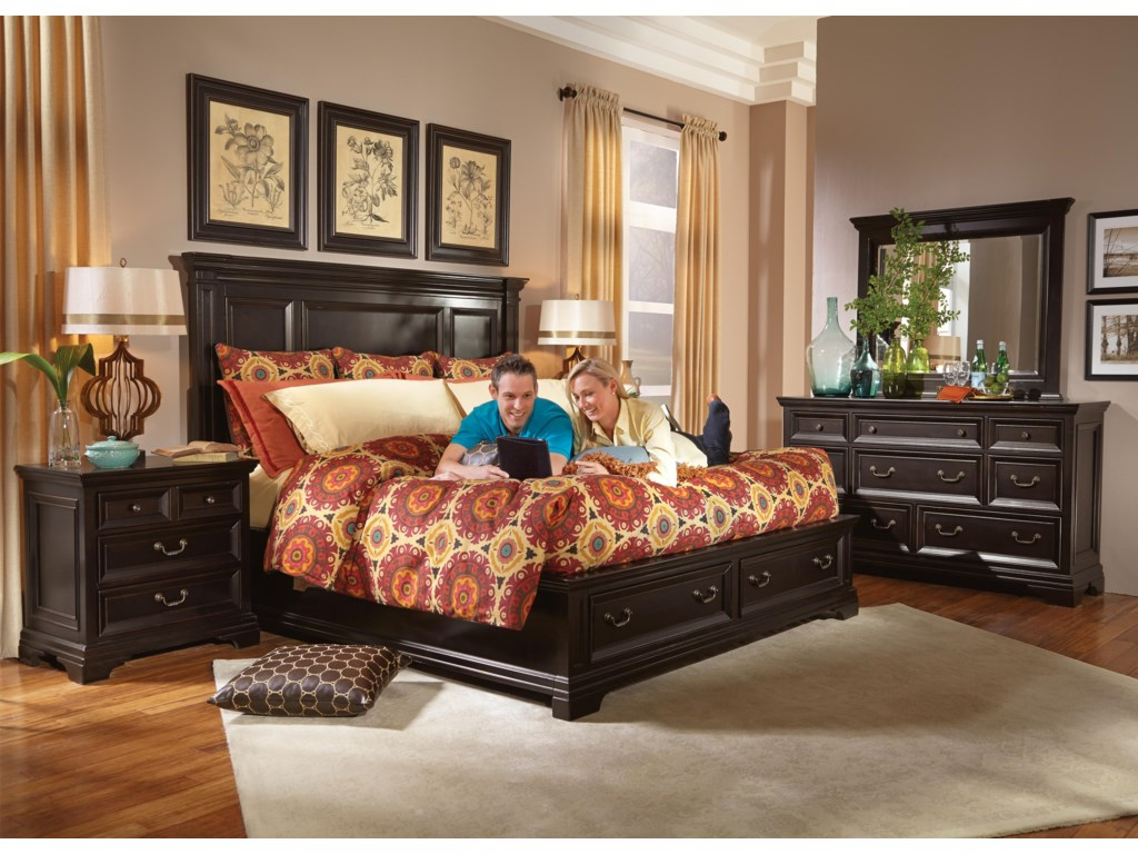 Camberly King Storage Bed With Black Finish By Flexsteel Wynwood Collection