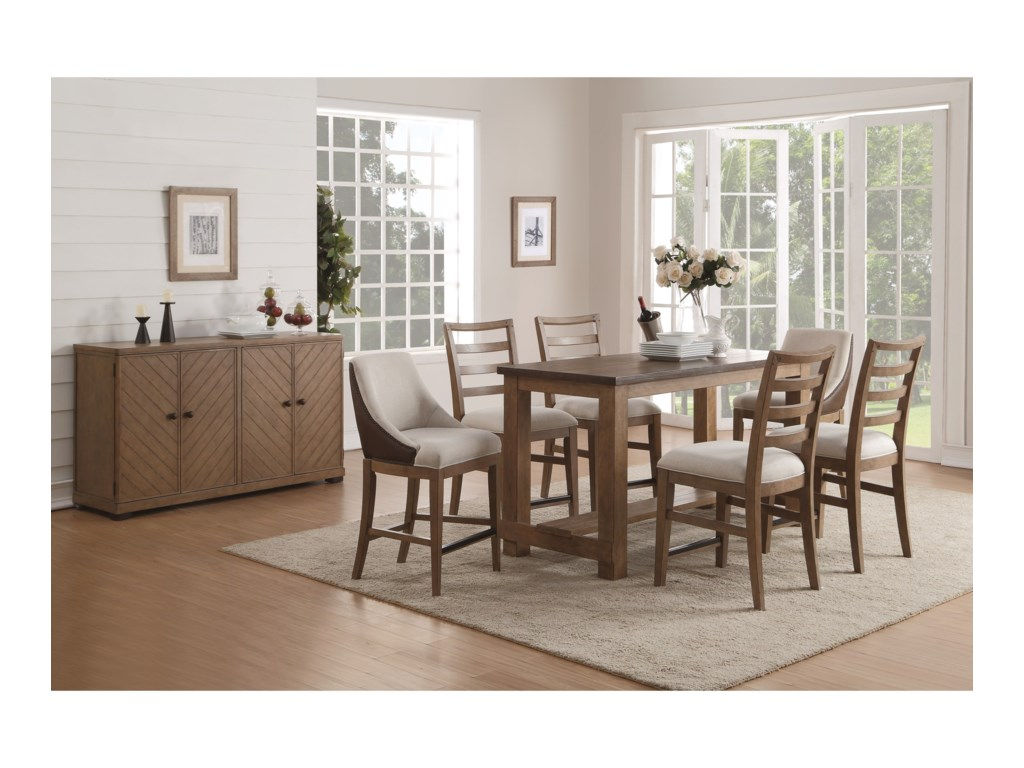 Flexsteel Wynwood Collection CarmenFormal Counter Height Dining Room Group