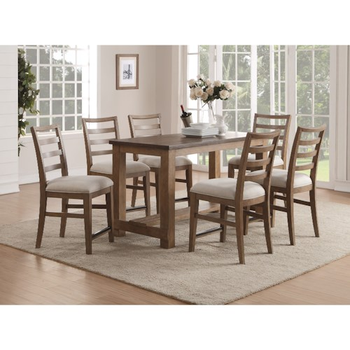 Flexsteel Wynwood Collection Carmen Contemporary Counter Height Table and Chair Set