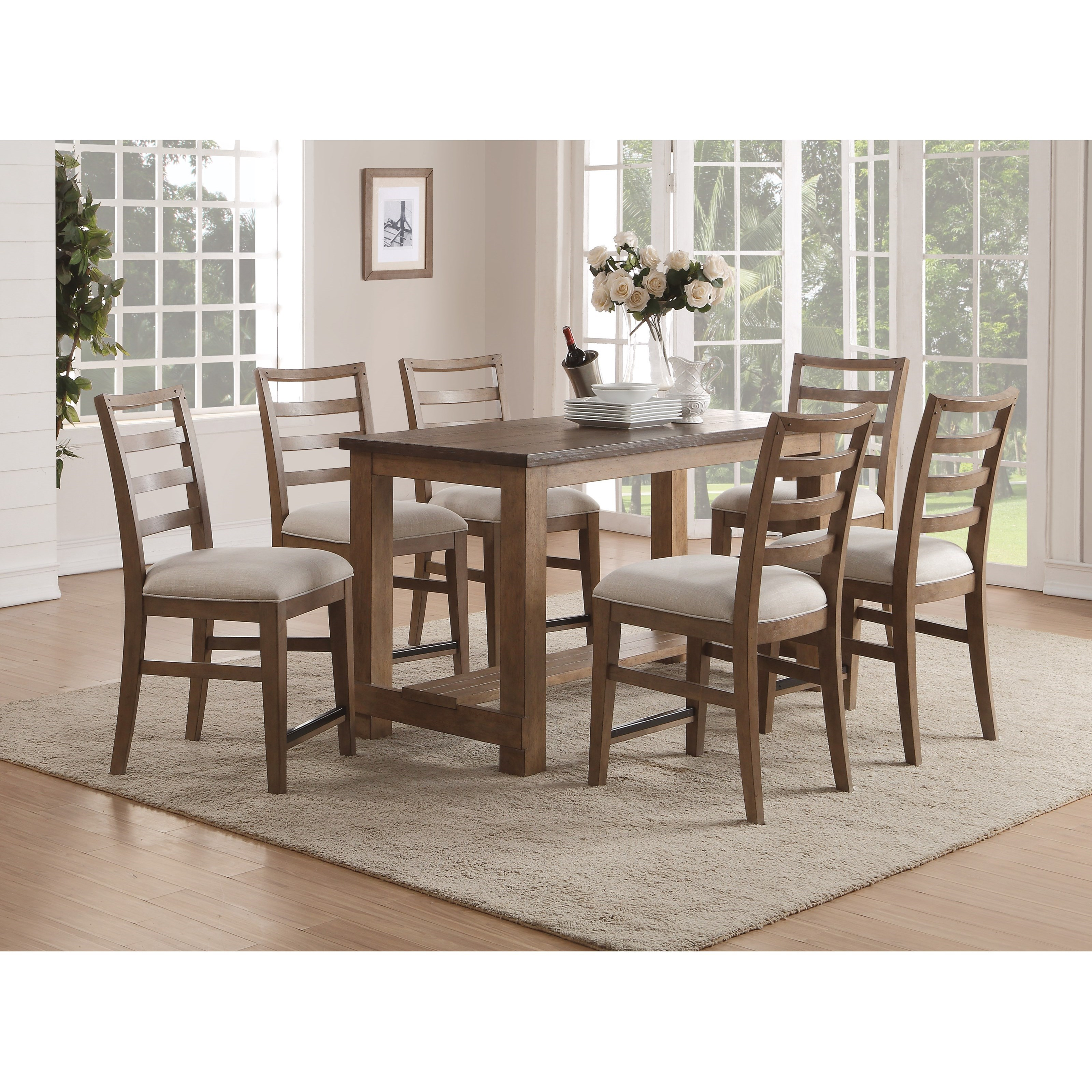 Wynwood, A Flexsteel Company Carmen Contemporary Counter Height Table And  Chair Set
