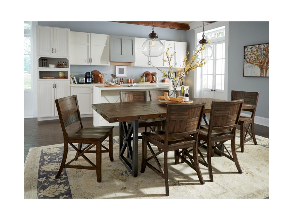 Flexsteel Wynwood Collection CarpenterAdjustable Height Rectangular Dining Table