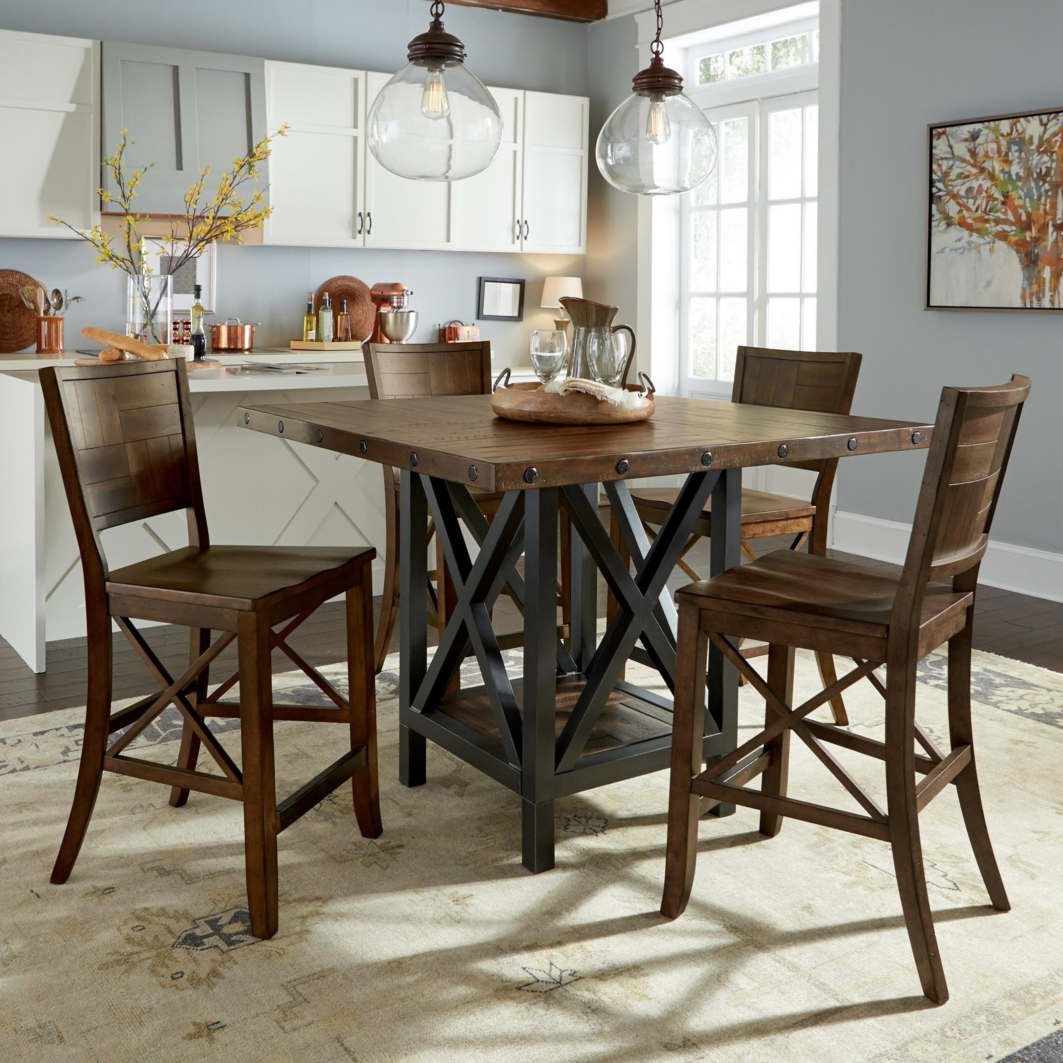 Flexsteel Wynwood Collection Carpenter5 Piece Counter Height Dining Set ...