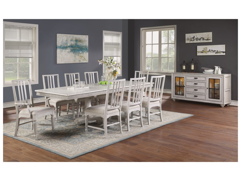 Flexsteel Wynwood Collection HarmonyRectangular Pedestal Dining Table