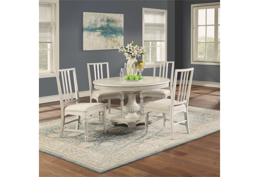 Flexsteel Wynwood Collection Harmony W1070 834 4x840 5 Piece Cottage Dining Table Set With Round Pedestal Table Pilgrim Furniture City Dining 5 Piece Sets