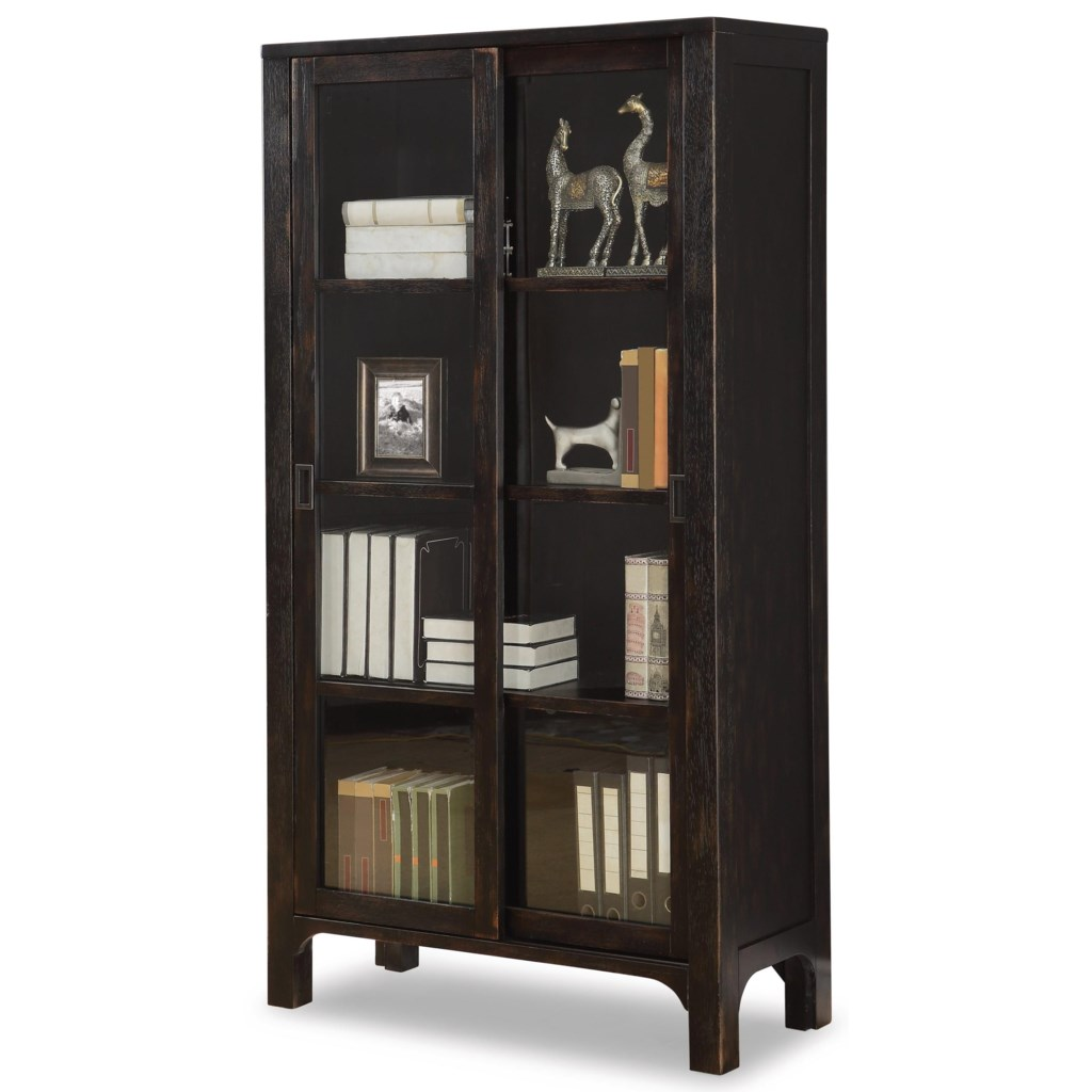 Flexsteel Wynwood Collection Homestead Rustic Bookcase With Sliding Doors