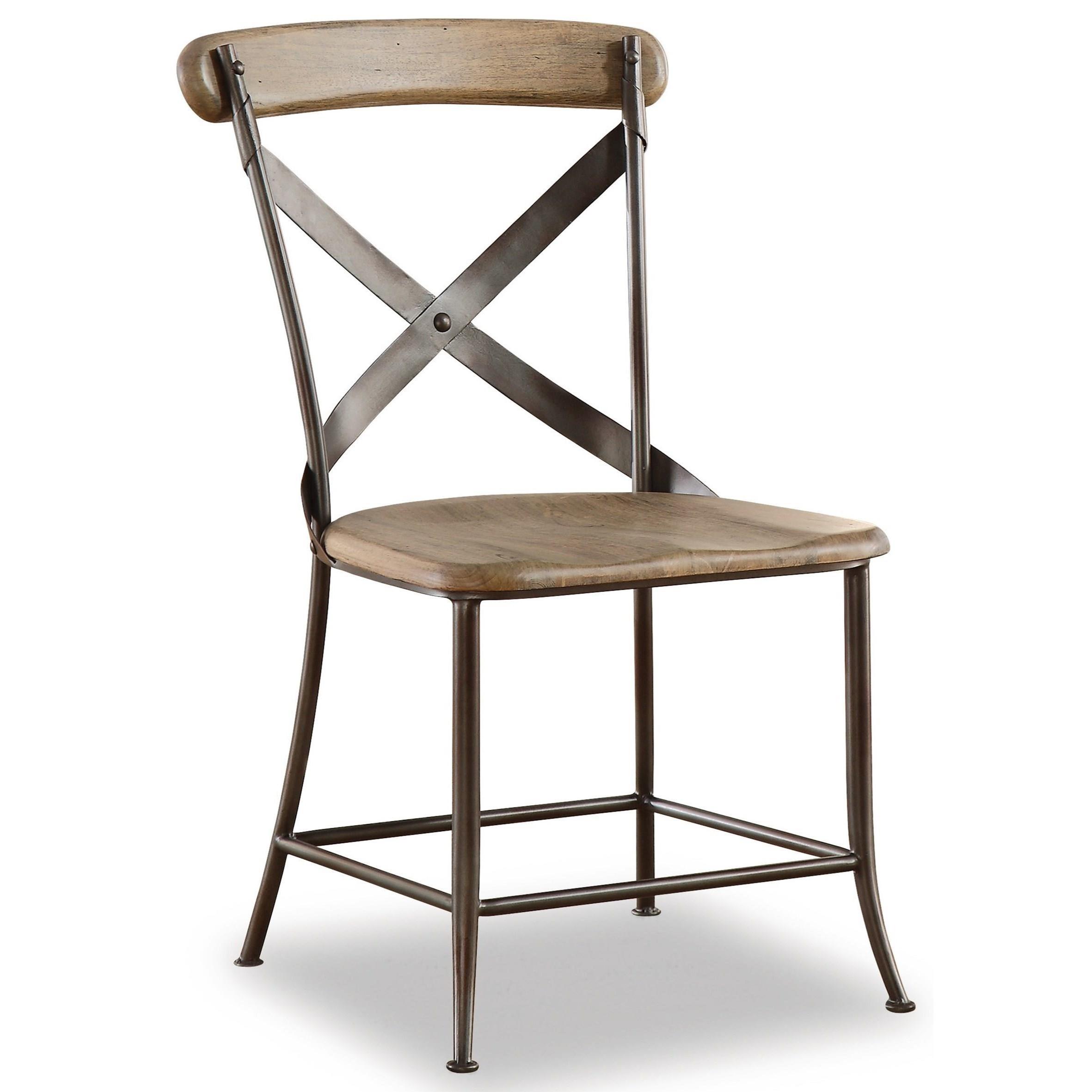 Flexsteel Wynwood Collection Keystone Industrial Armless Side Chair With  Metal Cross Back