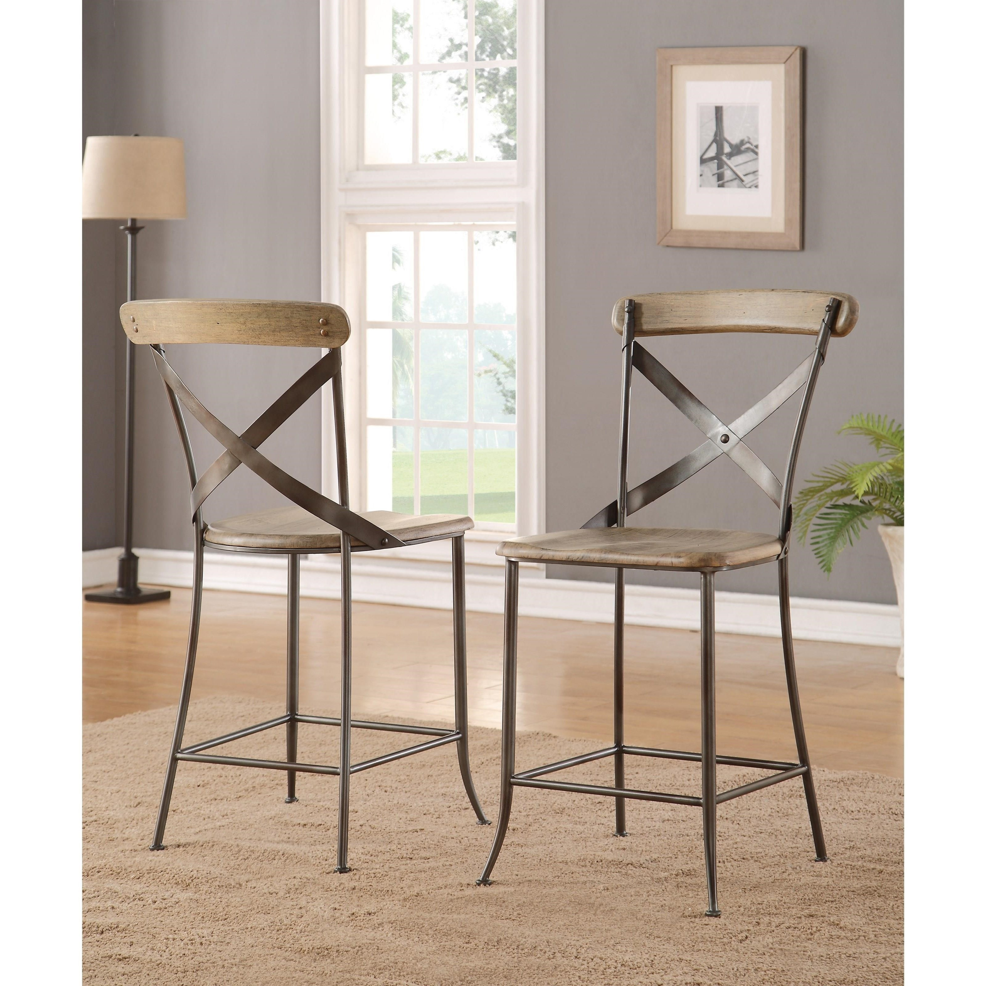 flexsteel wynwood collection keystone industrial armless counter chair with metal crossback