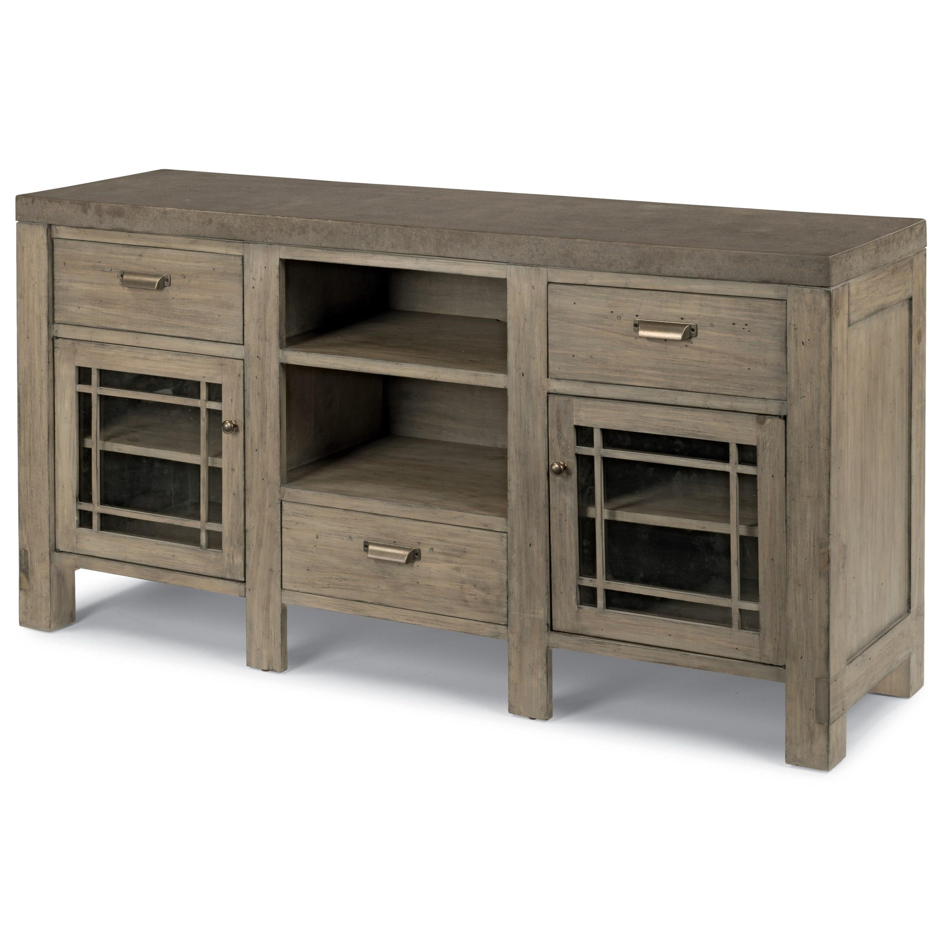 Flexsteel Wynwood Collection Keystone Contemporary Entertainment Base With Concrete  Tabletop