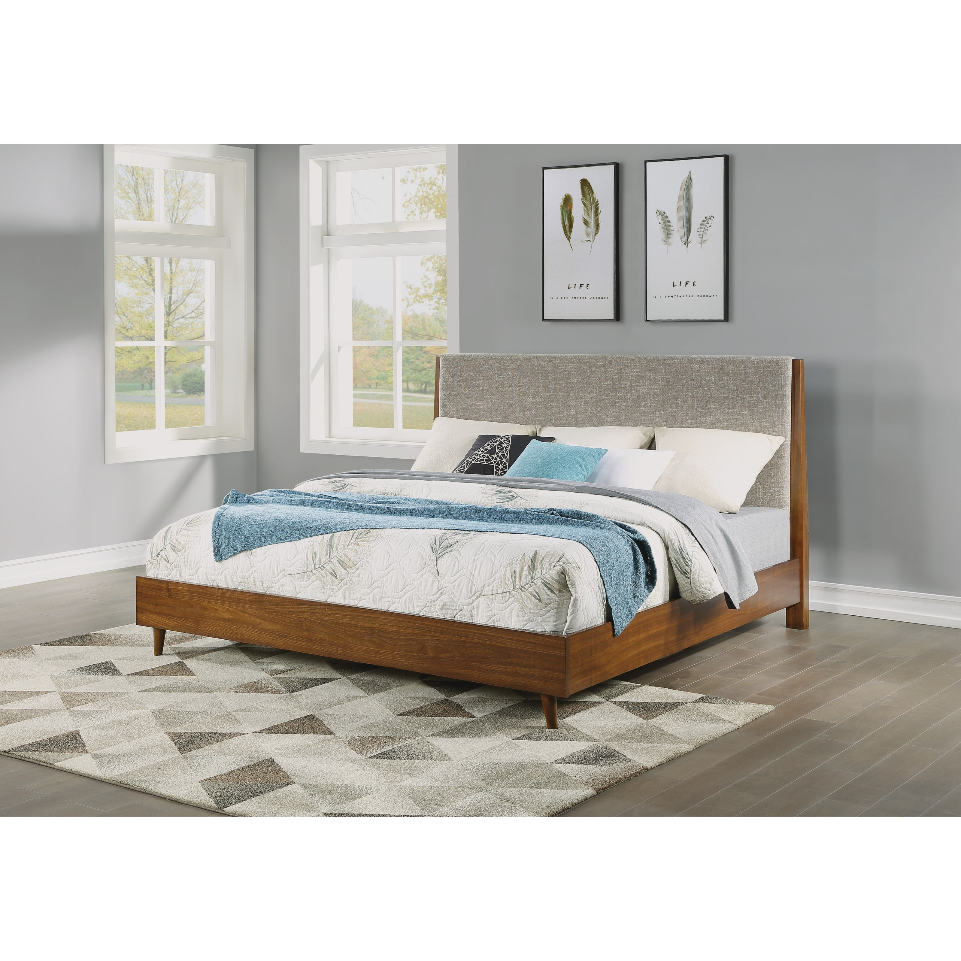 Mid-Century Modern California King Upholstered Bed with Platform Frame
