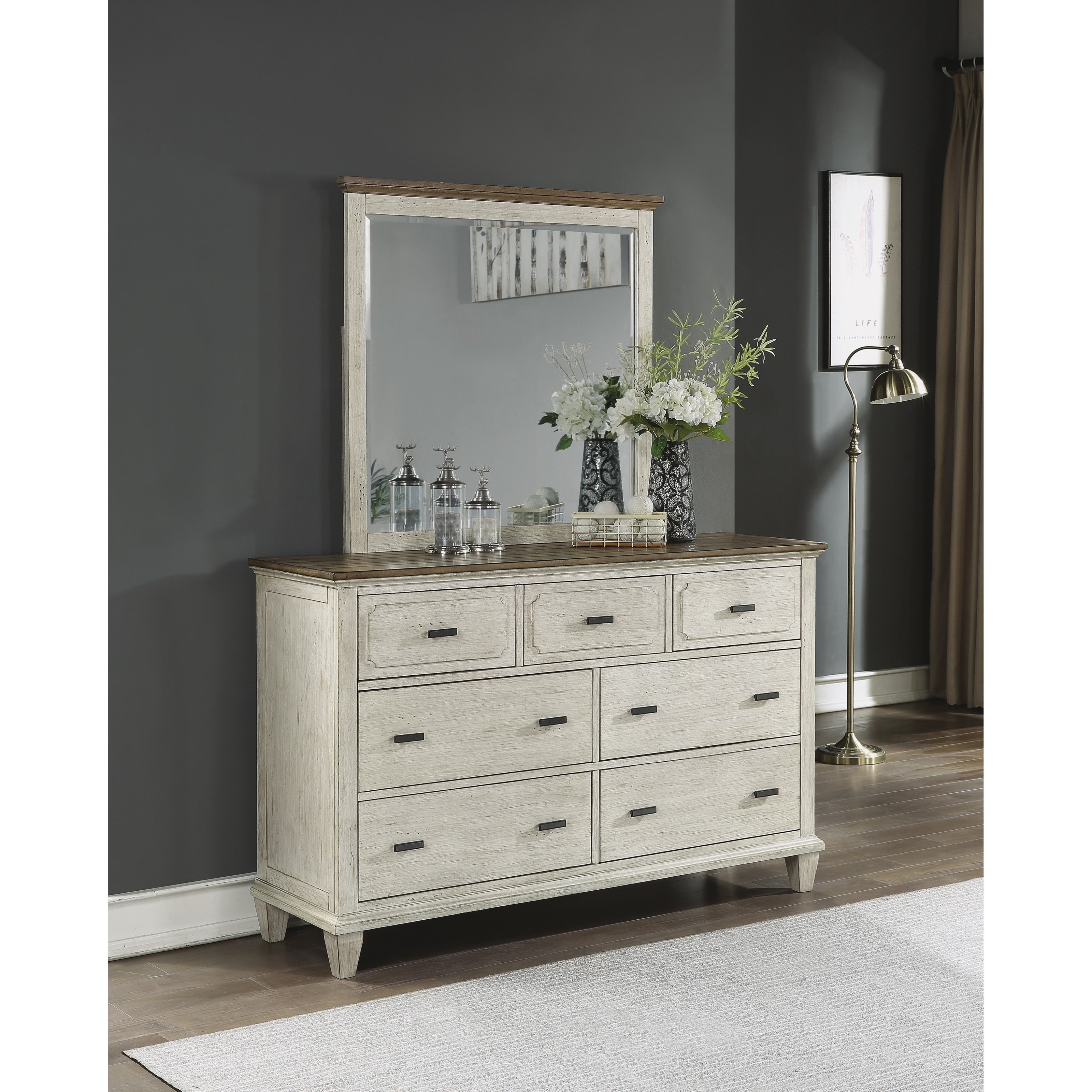 Relaxed Vintage Dresser and Mirror Set with Felt-Lined Drawers