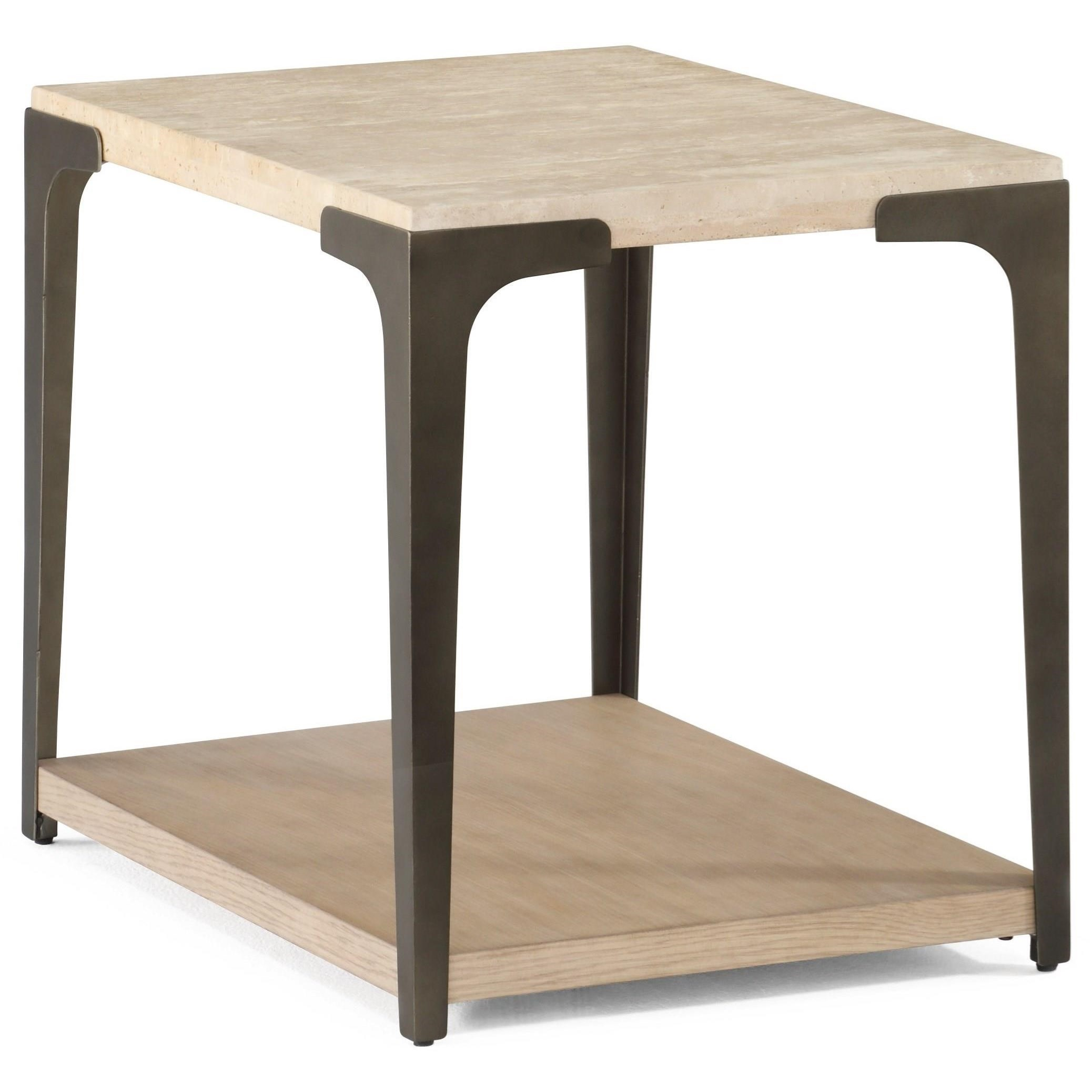 Contemporary End Table with Stone Top and Open Bottom Shelf