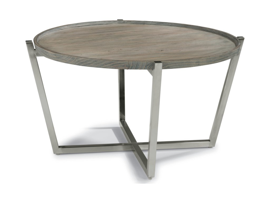 Platform Contemporary Round Tail Table With Stainless Steel Base By Flexsteel Wynwood Collection At Rotmans