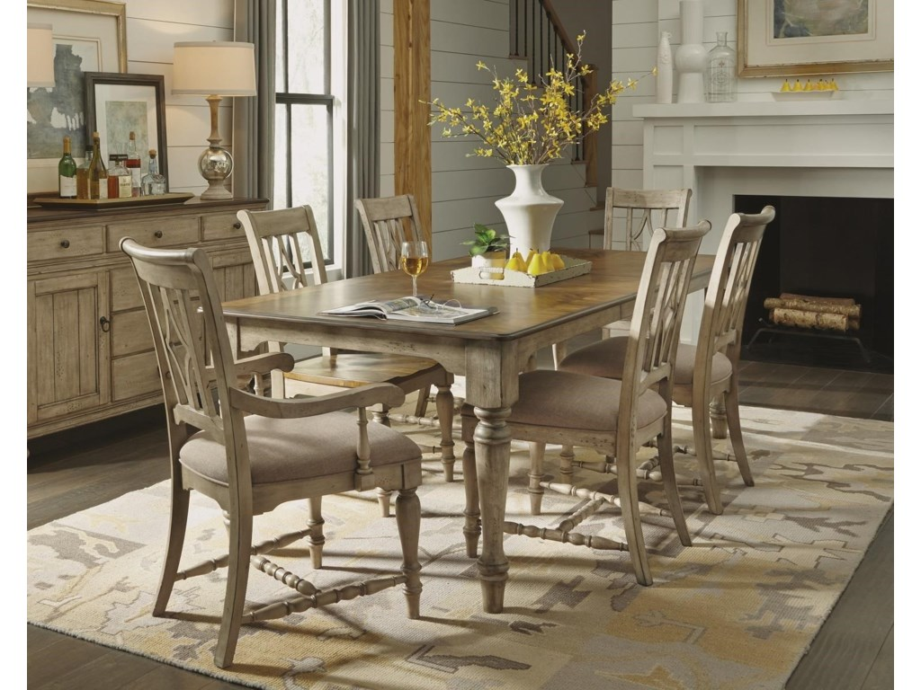 Flexsteel Wynwood Collection PlymouthCottage Dining Leg Table Chair Set