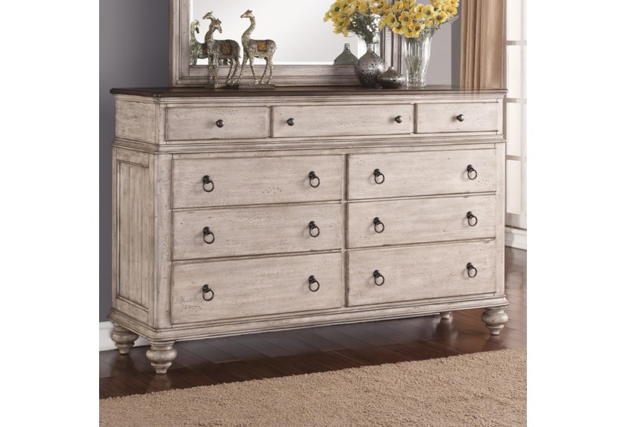 Plymouth Relaxed Vintage 9-Drawer Dresser with False-Bottom Drawer by  Flexsteel Wynwood Collection at Fashion Furniture