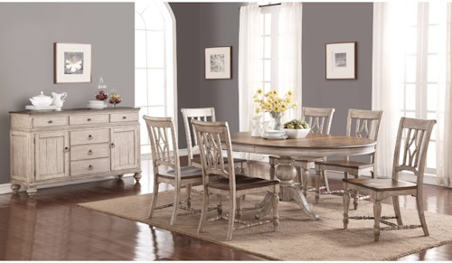 Flexsteel Wynwood Collection Plymouth Cottage Dining Room Group With Pedestal Table