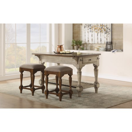 3-Piece Kitchen Island and Stool Set