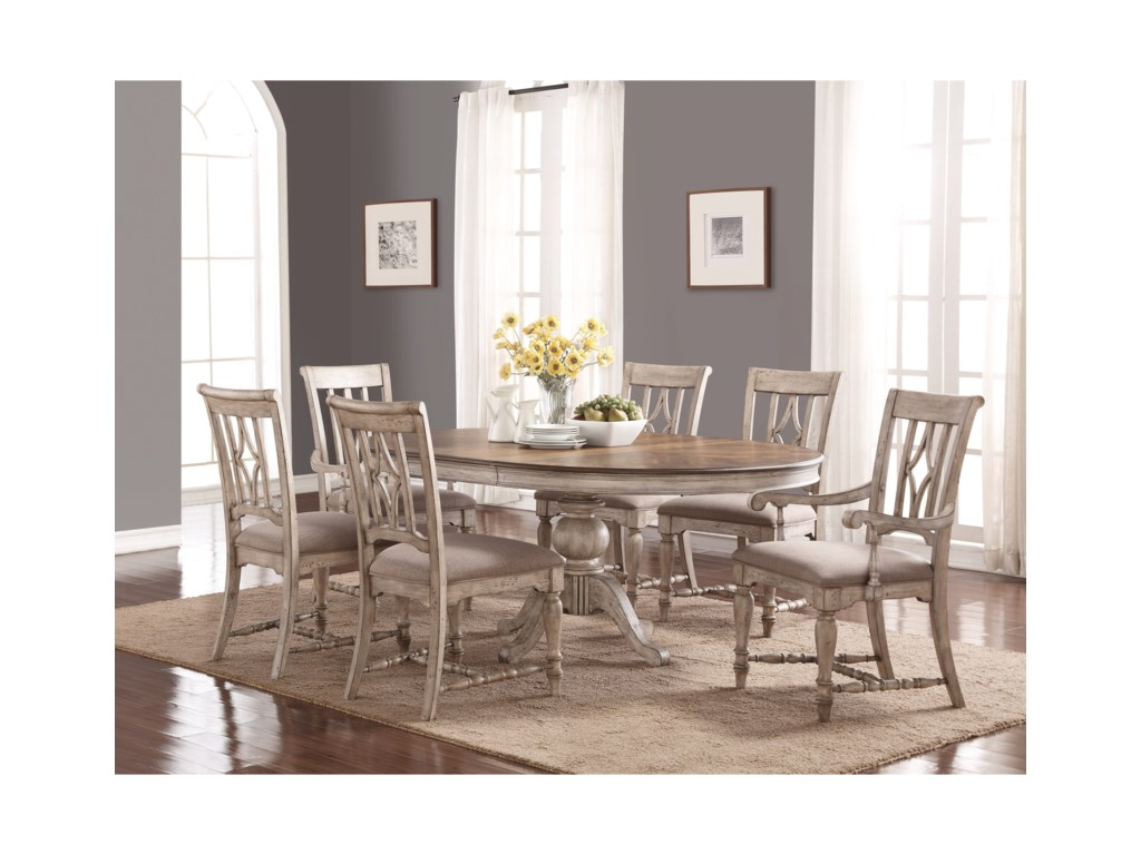 Flexsteel Wynwood Collection Plymouth Cottage Table And Chair Set With Pedestal