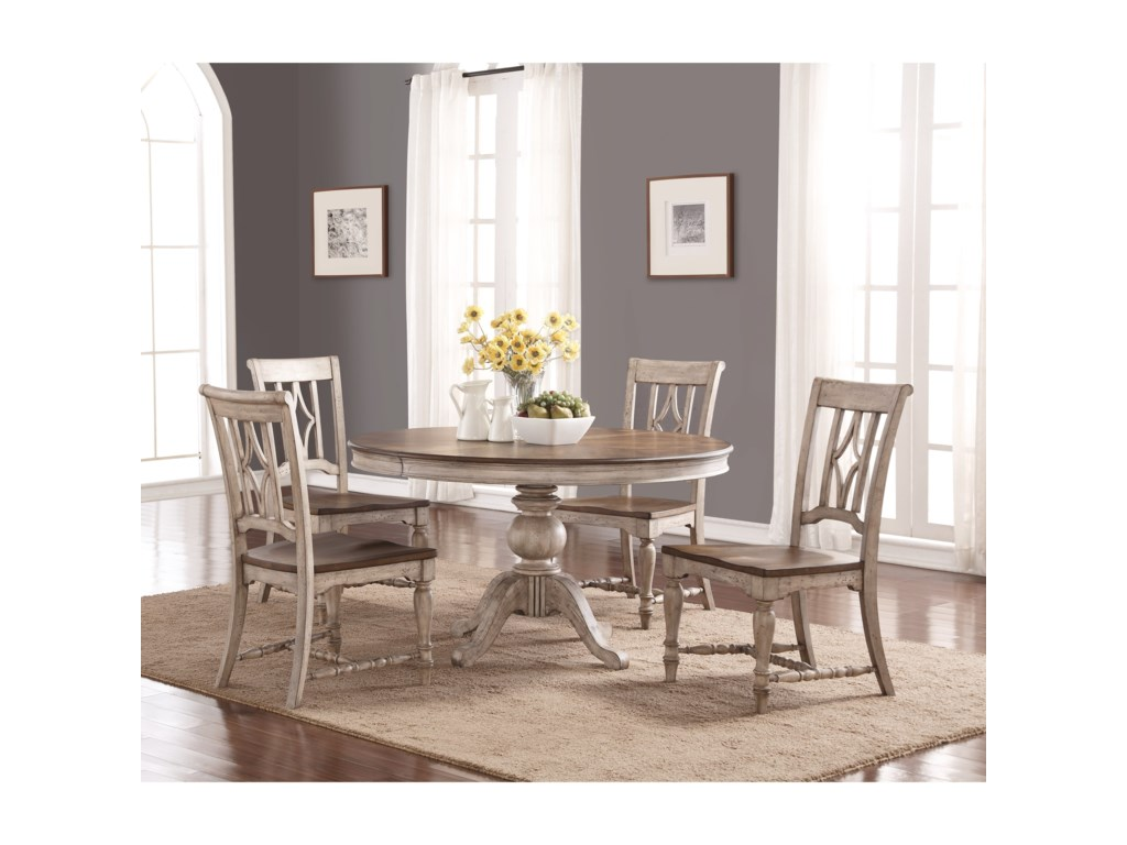 Flexsteel Wynwood Collection PlymouthRound Table and Chair Set