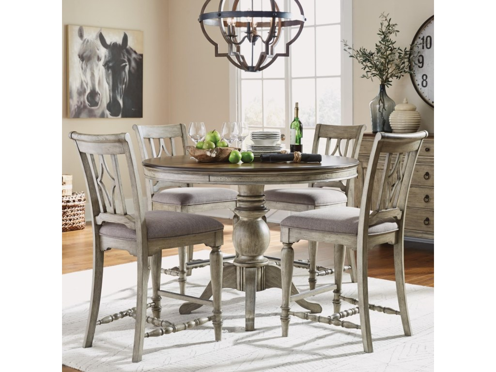 Flexsteel Wynwood Collection Plymouth5-Piece Counter Height Table and Chair Set