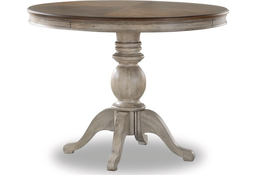 Plymouth Relaxed Vintage Pedestal Counter Height Dining Table With Leaves By Flexsteel Wynwood Collection At Home Collections Furniture