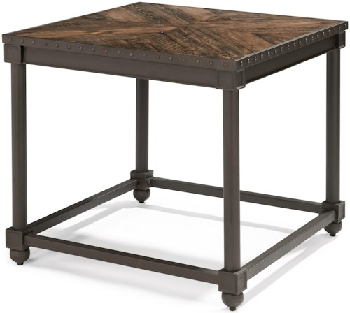 Flexsteel Wynwood Collection Sequence Industrial Lamp Table with Nailhead Trim