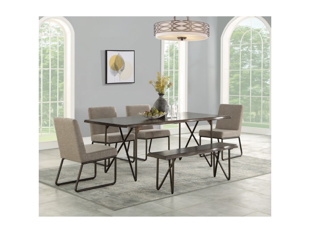 Flexsteel Shadow6-Piece Table Set with Bench