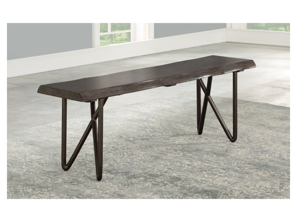 Flexsteel Wynwood Collection Shadow Mid Century Modern Solid Wood Dining Bench With Live Edge Furniture Barn Dining Benches