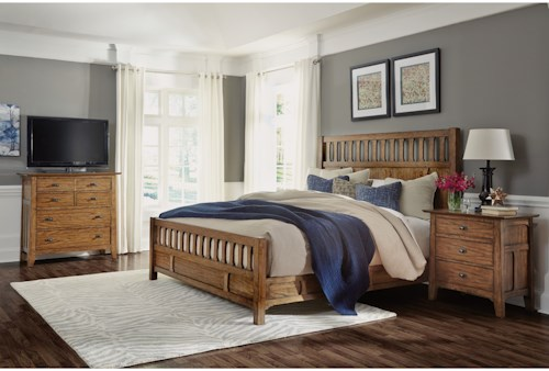 Flexsteel Wynwood Collection Sonora Mission Cal King Bedroom Group with Media Chest