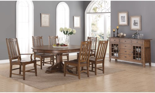 Flexsteel Wynwood Collection Sonora Formal Dining Room Group with Oval Pedestal Table