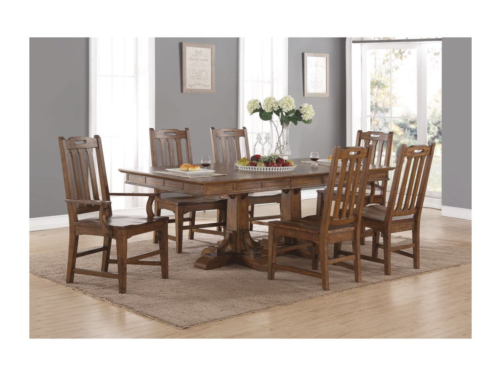 Sonora Mission Formal Dining Table and Chair Set with Removable Leaves by  Wynwood, A Flexsteel Company at Conlin\'s Furniture