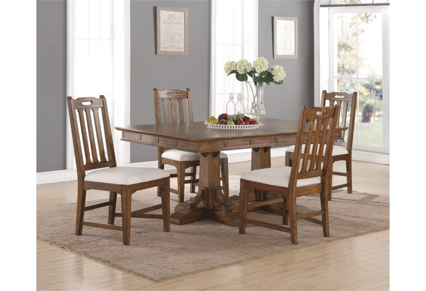 Sonora Mission Rectangular Dining Table And Upholstered Chair Set With Removable Leaves By Flexsteel Wynwood Collection At Dunk Bright Furniture