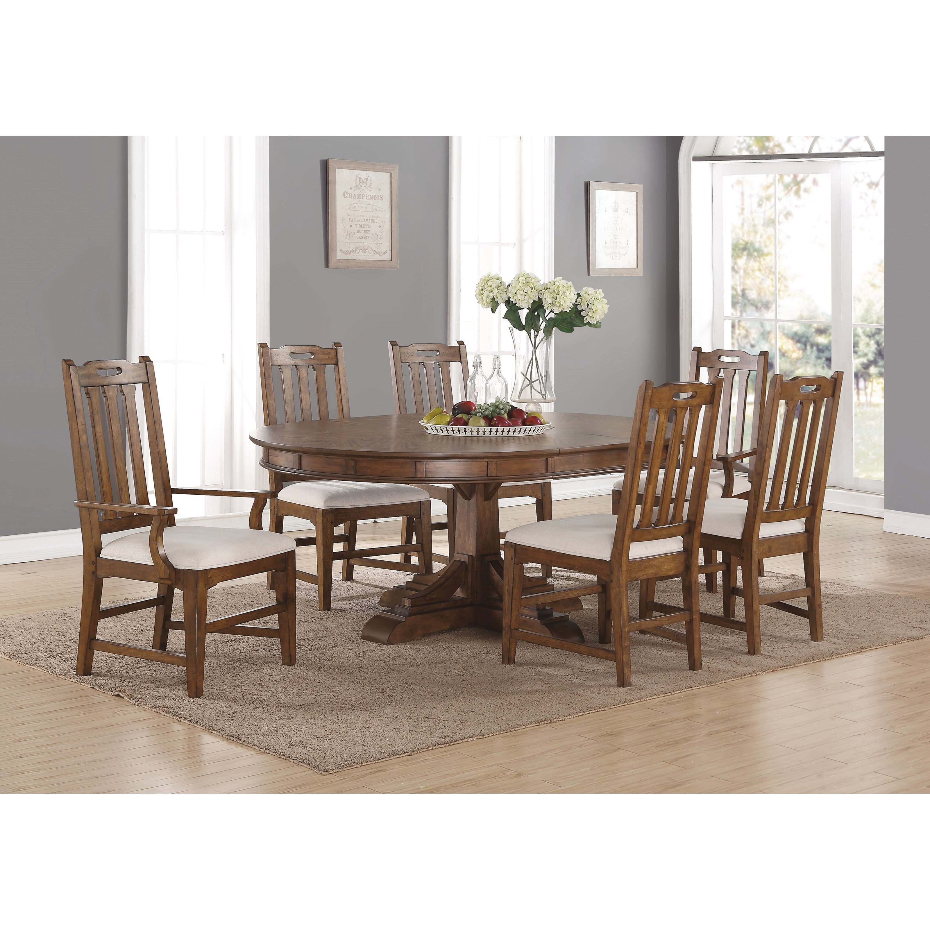 Flexsteel Wynwood Collection Sonora Formal Oval Dining Table And Chair Set  With Upholstered Chairs