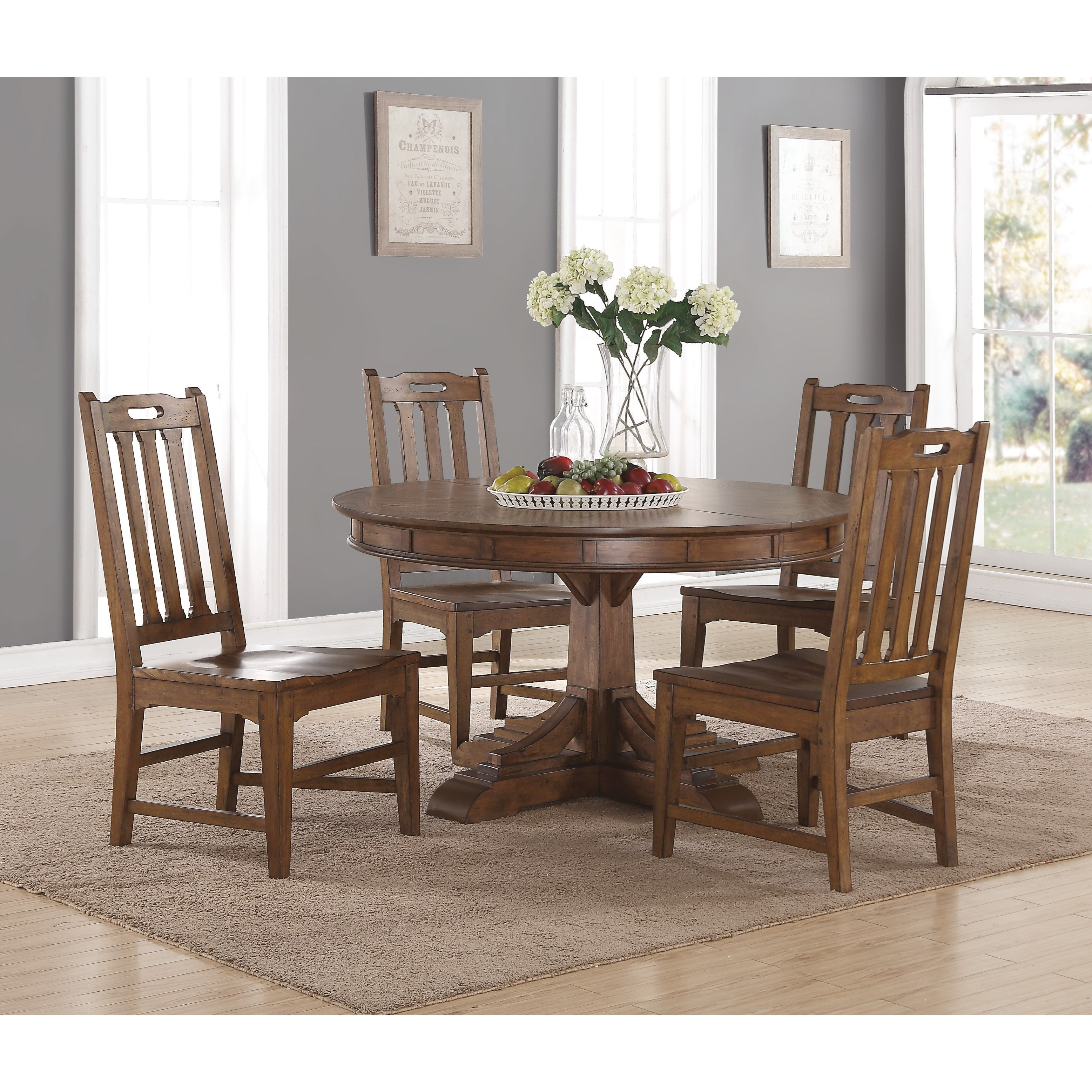 Beau Wynwood, A Flexsteel Company Sonora Mission Round Table And Chair Set With  Removable Table Leaf