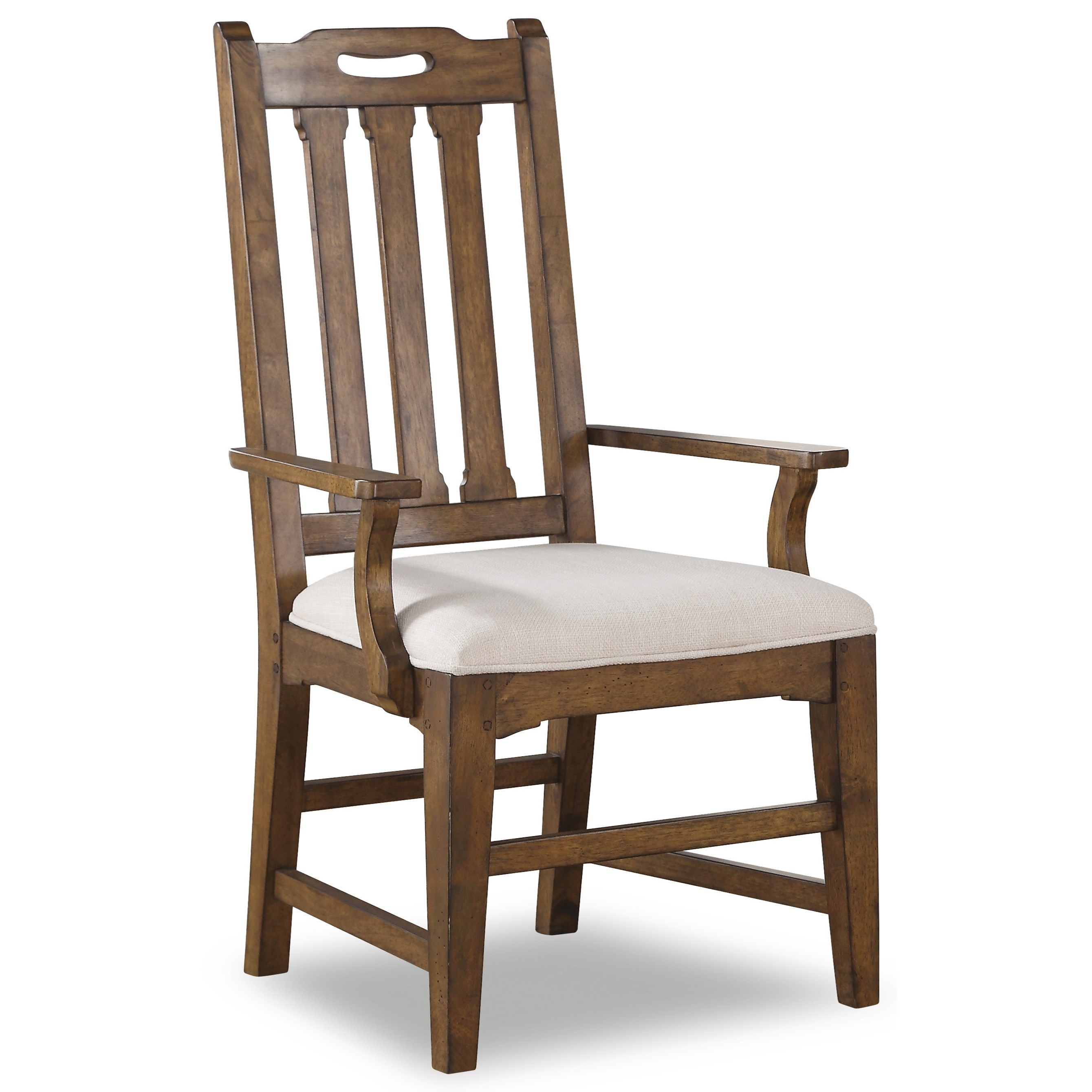 Flexsteel Wynwood Collection Sonora Mission Upholstered Arm Dining Chair  With Slat Back   Dunk U0026 Bright Furniture   Dining Arm Chairs
