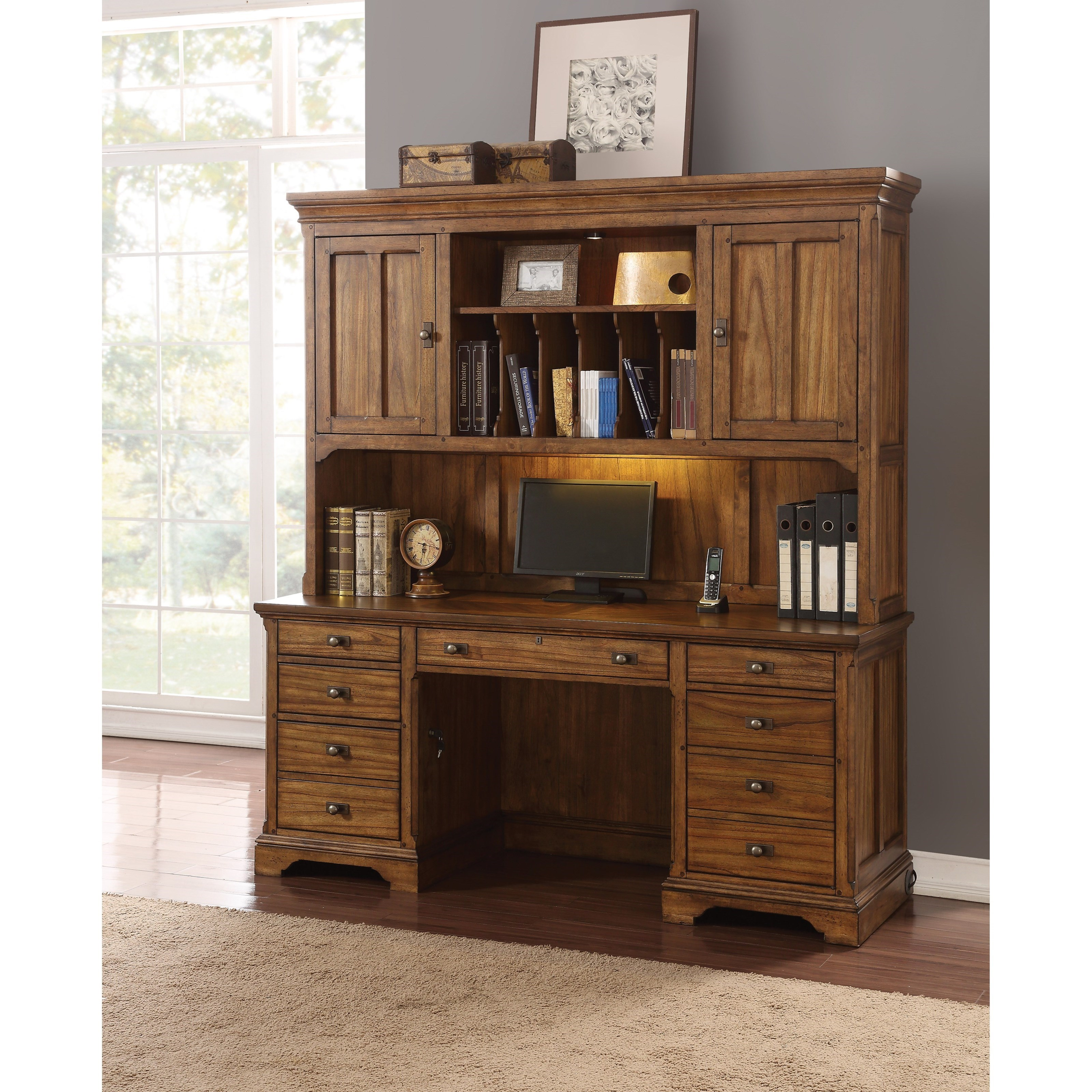 Ordinaire Flexsteel Wynwood Collection Sonora Mission Kneehole Credenza And Hutch  With Lighting
