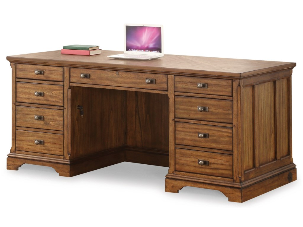Flexsteel Wynwood Collection Sonora Mission Executive Desk With Locking Hanging File Drawer