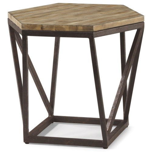 Flexsteel wynwood collection spectrum contemporary lamp table with geometric metal base