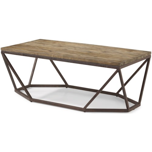 Flexsteel Wynwood Collection Spectrum Contemporary Rectangular Cocktail Table with Geometric Metal Base