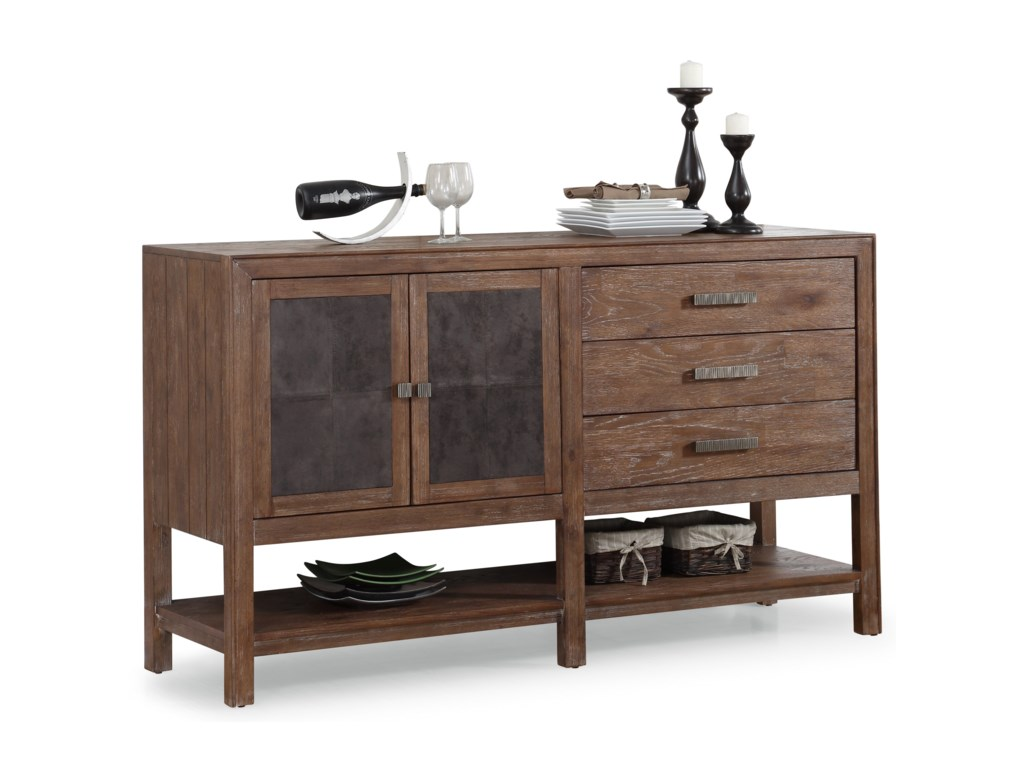 Flexsteel Wynwood Collection Hampton Dining Groupbuffet With Shelving