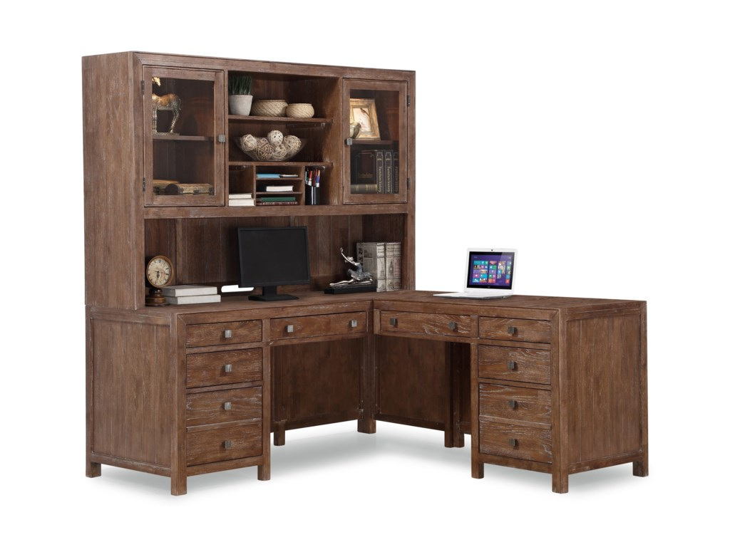 Hampton Home Office Group Rustic L Shaped Desk And Hutch With Lockable Cabinets Keyboard Trays By Flexsteel Wynwood Collection