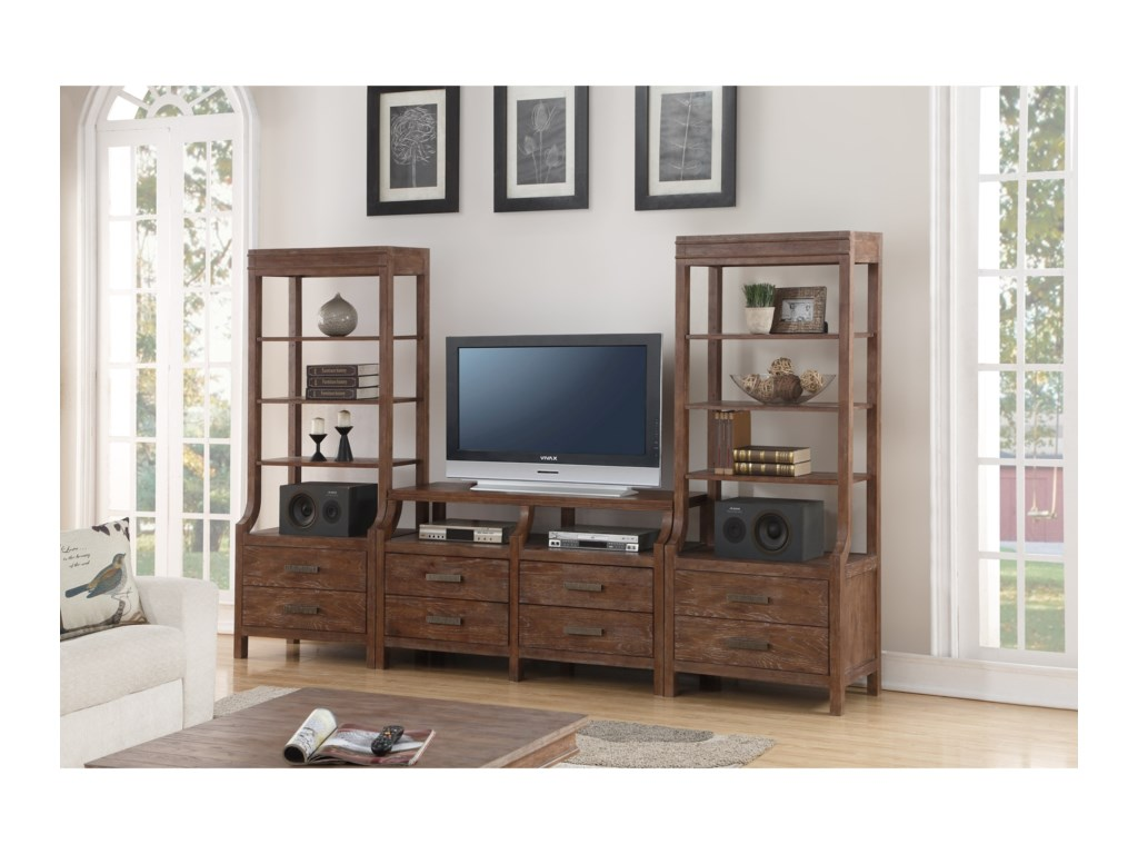 Flexsteel Wynwood Collection Hampton Occasional Group Wall Unit