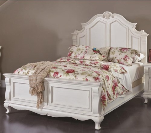 Folio 21 Chateau Monaco Traditional Queen Panel Bed with Decorative Moldings