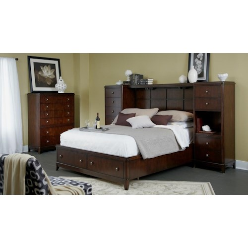 Folio 21 Edenfield Queen Wall Storage Bed With 2 Pier Chests Bridge Story Lee Furniture