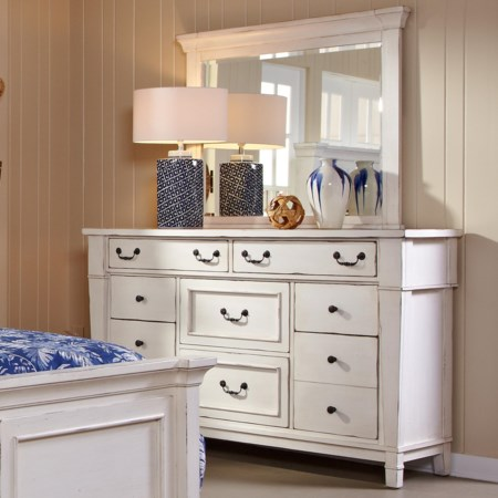 Eight Drawer Dresser w/ Mirror