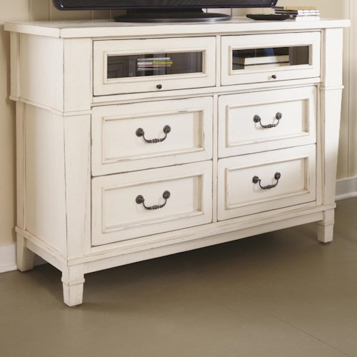 Folio 21 Astoria Cottage Media Chest with Hideaway Glass Doors