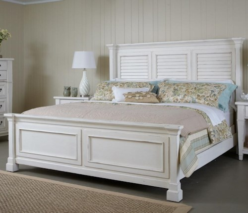 Folio 21 Astoria Queen Bed with Shutter Headboard and Panel Footboard